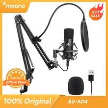 MAONO AU A04 Microfono USB Kit 192KHZ/24BIT Professionale Podcast Microfono A Condensatore per PC Karaoke Youtube La Registrazione In Studio del Mikrofon