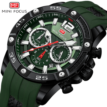 цена на MINI FOCUS Mens Chronograph Watches Luxury Army Sport Wristwatch Man Green Silicone Strap Quartz Watch Relogios Masculino 0349