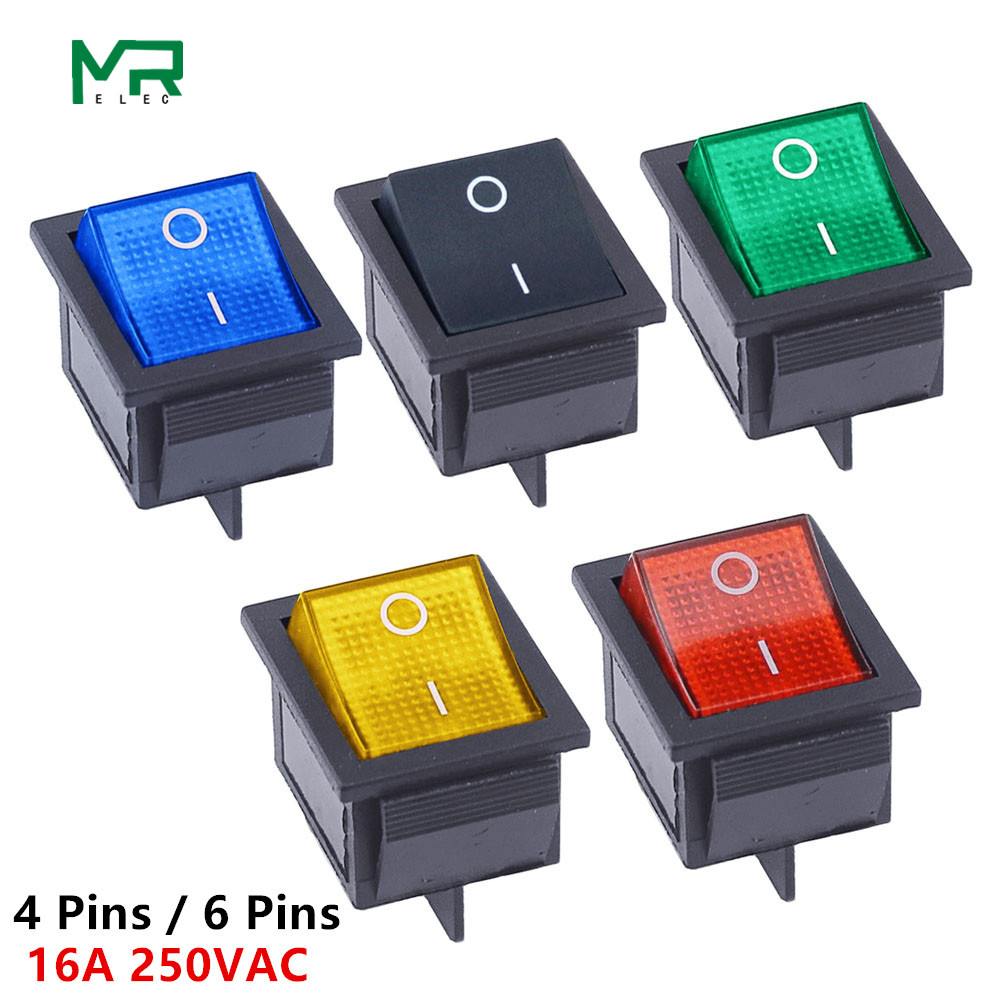 KCD4 Rocker Switch ON OFF 2 Position 4 Pins / 6 Pins  Electrical equipment With Light Power Switch 16A 250VAC/ 20A 125VAC|on/off rocker switch|spst rocker switch|spst switch - title=