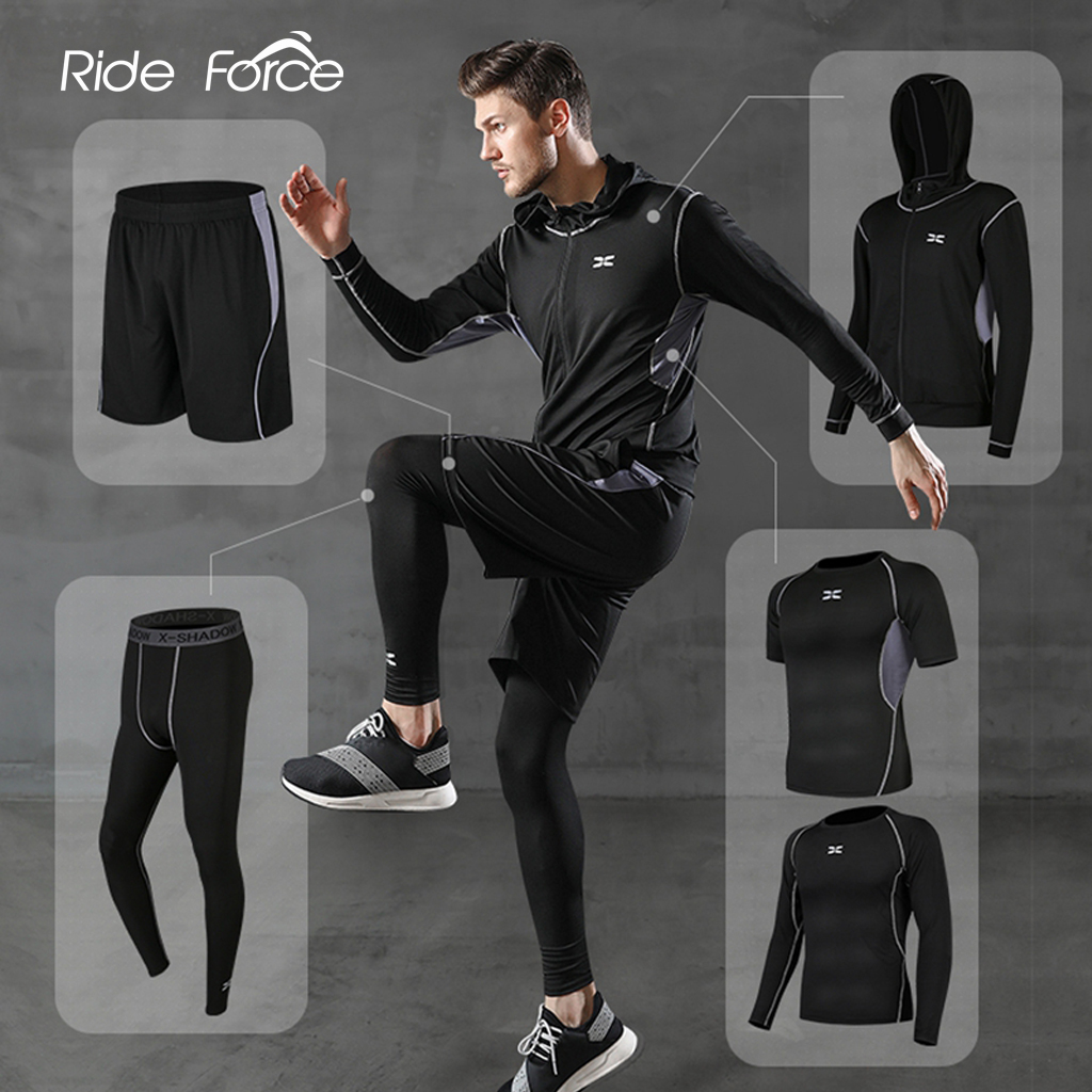 5 pièces/ensemble survêtement pour hommes salle de Sport Fitness Compression costume de Sport vêtements de course Jogging vêtements de Sport exercice d'entraînement collants
