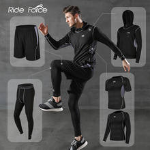 5 Pcs/Set Mens Tracksuit Gym Fitness Compression Sports Suit Clothes Running Jogging Sport Wear Exercise Workout Tights