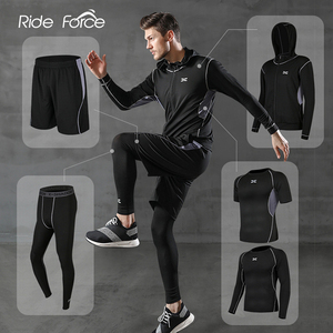 Image 1 - 5 Pcs/Set Mens Tracksuit Gym Fitness Compression Sports Suit Clothes Running Jogging Sport Wear Exercise Workout Tights