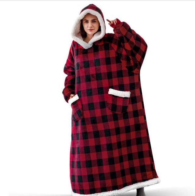 Super Long Flannel Blanket with Sleeves Winter Hoodies Sweatshirt Women Men Pullover Fleece Giant TV Blanket Oversized WF032 5