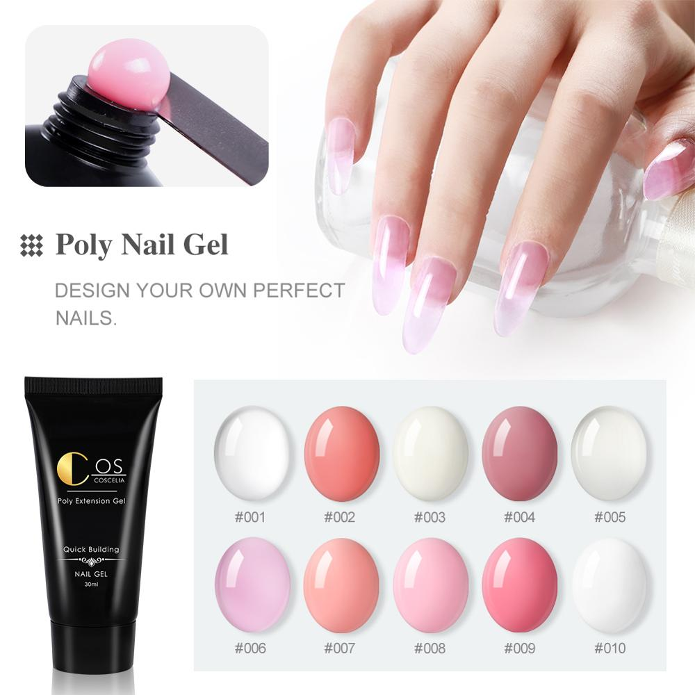 COSCELIA Quick Extension Gel Acrylic Pink White Clear Poly Extension Nail Gel UV LED Builder Nail Gel Tips Slip Solution