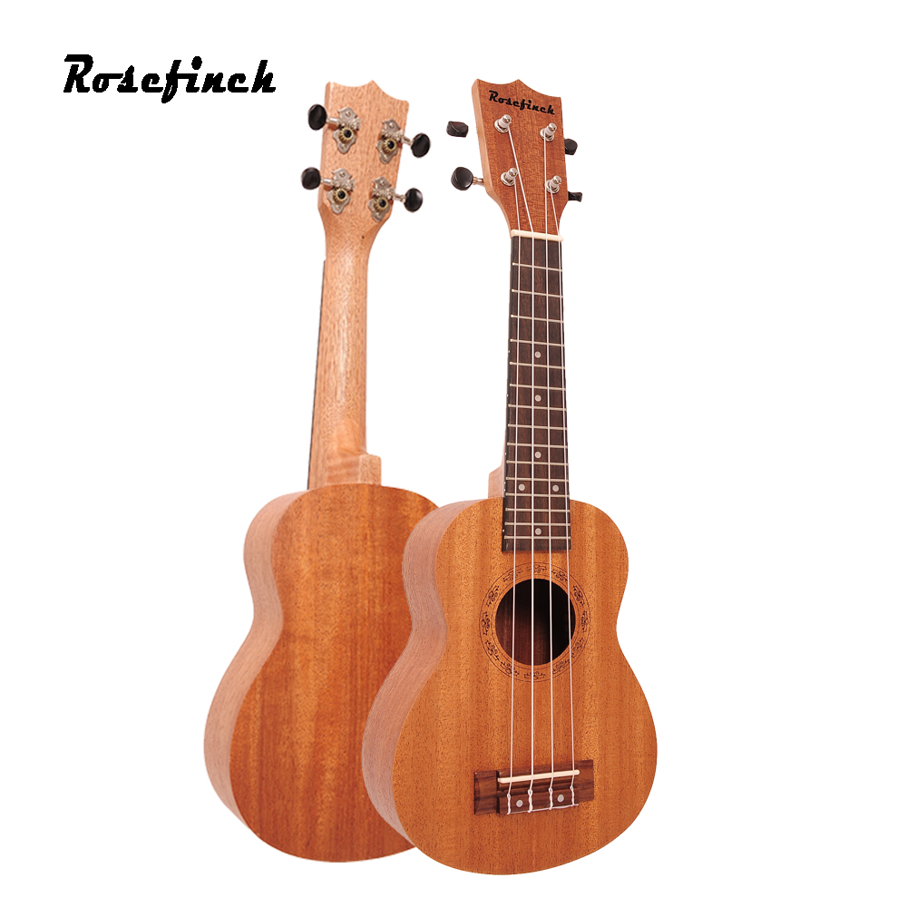 Rosefinch 21 Inch Soprano Ukulele Guitar Mahogany Sapele Wood Rosewood 4 Strings Hawaiian Mini Guitar For Beginner UK101