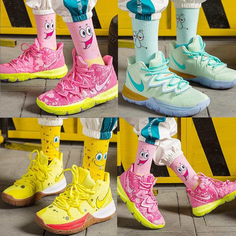 Cartoon Socks Women Men Unisex Crew Basketball Socks Male Hip Hop Sponge Socks Bob Patrick Star Short Sock Cotton Streetwear