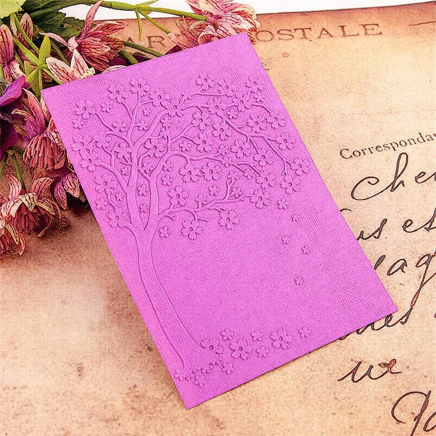 10.5x14.8 Flower Tree Embossing Folders Plastic Bump Scrapbooking DIY Template Fondant Indentation Cake Photo Album Card Make