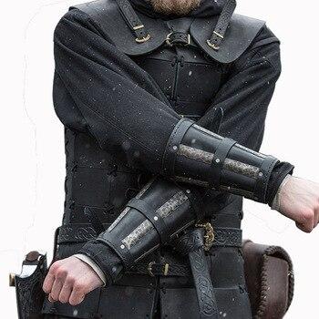 Brazalete Medieval Steampunk de piel sintética para hombre, armadura de brazo con...