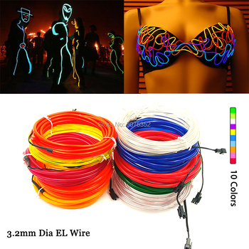 3.2 EL Wire Rope Tube Flexible EL Cable Strip Neon Led Light DIY Material For Performance Clothes Helmet Bicycle Decorative top selling el cable rope explorer design clothes led strip neon light stylish luminous costume for carnival new years day decor