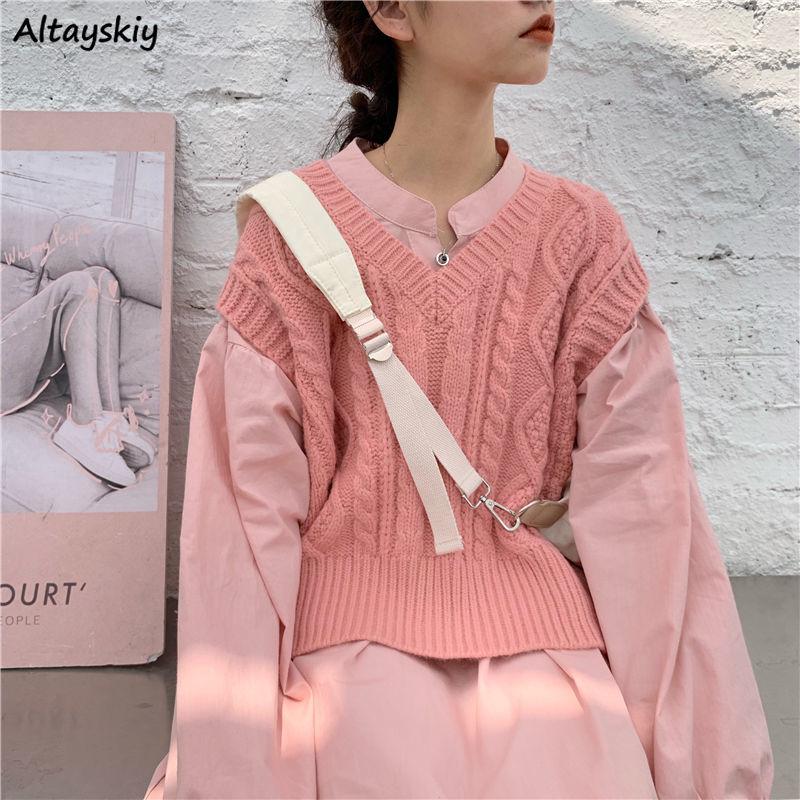 Vests Women Retro Ribbed Knitwear Harajuku Student Cute Loose Crop Coats Female Fashion All-match Simple Girls Daily Korean Soft