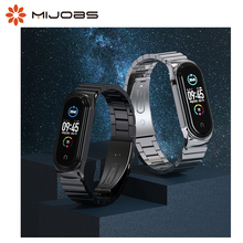 Mijobs Mi Band 5 Bamboo CS Version Strap for Mi Band 3 4 5  Metal Stainless Steel Strap