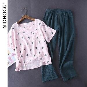 Image 2 - Pijamas femininos de algodão, pijamas lavados à água, estilo crepe, manga curta, calças compridas, pijamas para casa conjunto de 2 peças