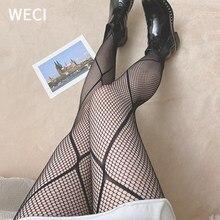 WECI – collant en résille rayé pour femmes, bas en toile d'araignée, avec accès, bas gothiques en soie, collant en nylon, grande taille