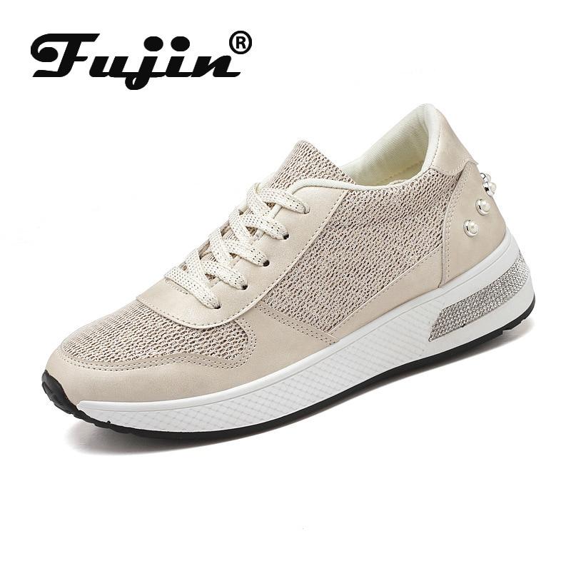 Fujin Women Sneakers Platform Lace Up Bling Bling Rhinestone Rivet Fashion 2020 Spring Autumn Female Casual Shoes Tenis Feminino