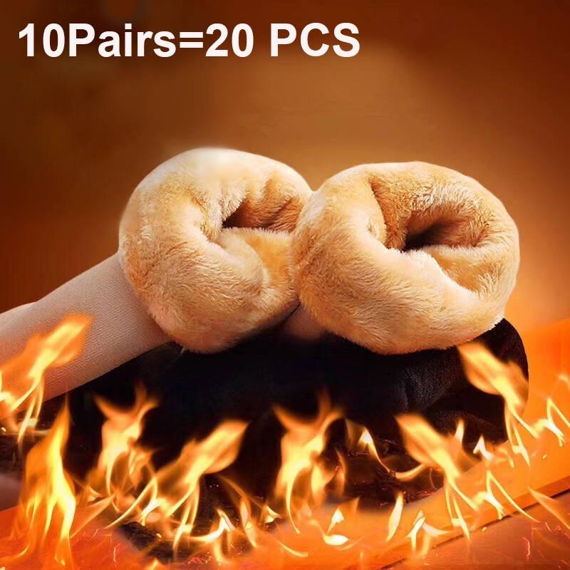 10Pairs/lot Warm Female Male Socks Thicken Thermal Wool Cashmere Snow Winter Socks Unisex Seamless Velvet Boots Floor Sock