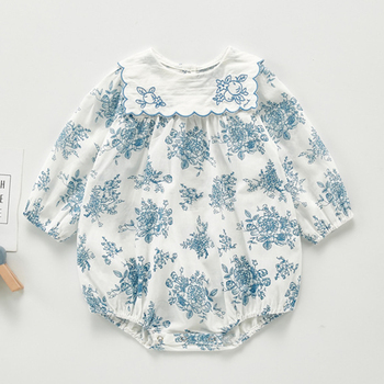 New 2020 Spring Autumn Baby Girl Rompers Baby Girl Long Sleeves Floral Triangle Crawl Clothing Baby Girl Clothing Rompers