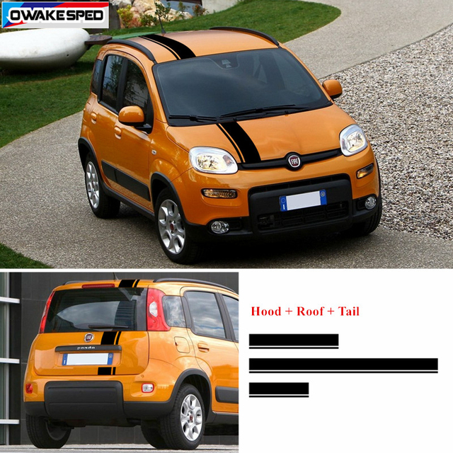 Car Hood Roof Tail Decor Stickers For-Fiat Panda Corss 4X4 OFF RAOD Stripes Exterior Auto Body Engine Cover Vinyl Decals 5