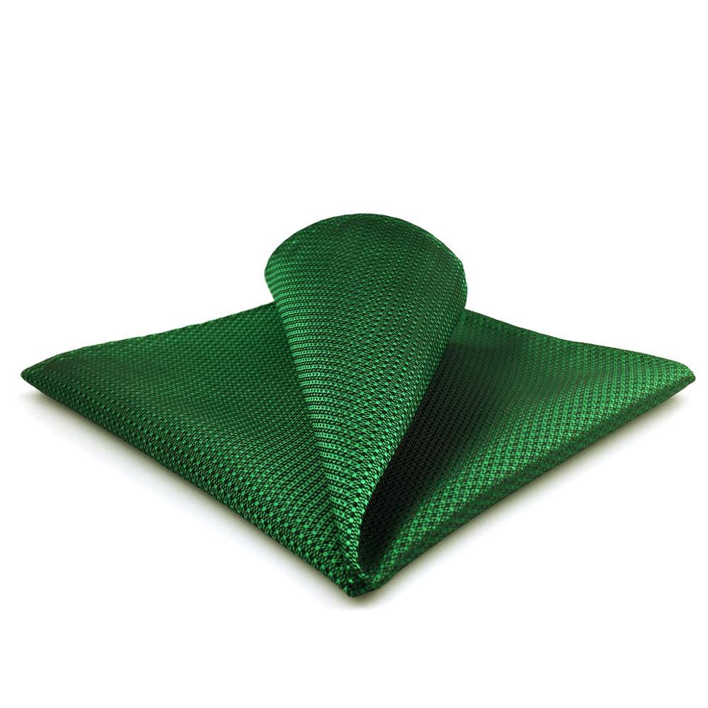 FH05 Solid Green Mens Pocket Square Wedding Handkerchief Fashion Silk Handkerchief