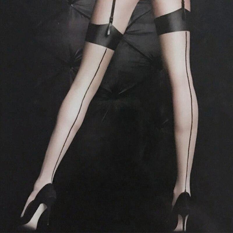 Retro arka çizgi dikiş çorap seksi şeffaf ipek çorap bayan kadın uyluk yüksek naylon çorap