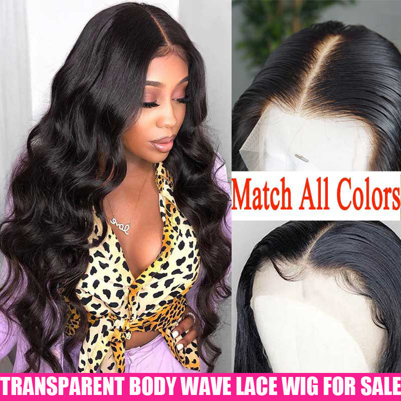 13x4 Transparent Lace Front Human Hair Wigs 180 200 Density Remy Invisible Brazilian Body Wave Lace Frontal Wig For Women