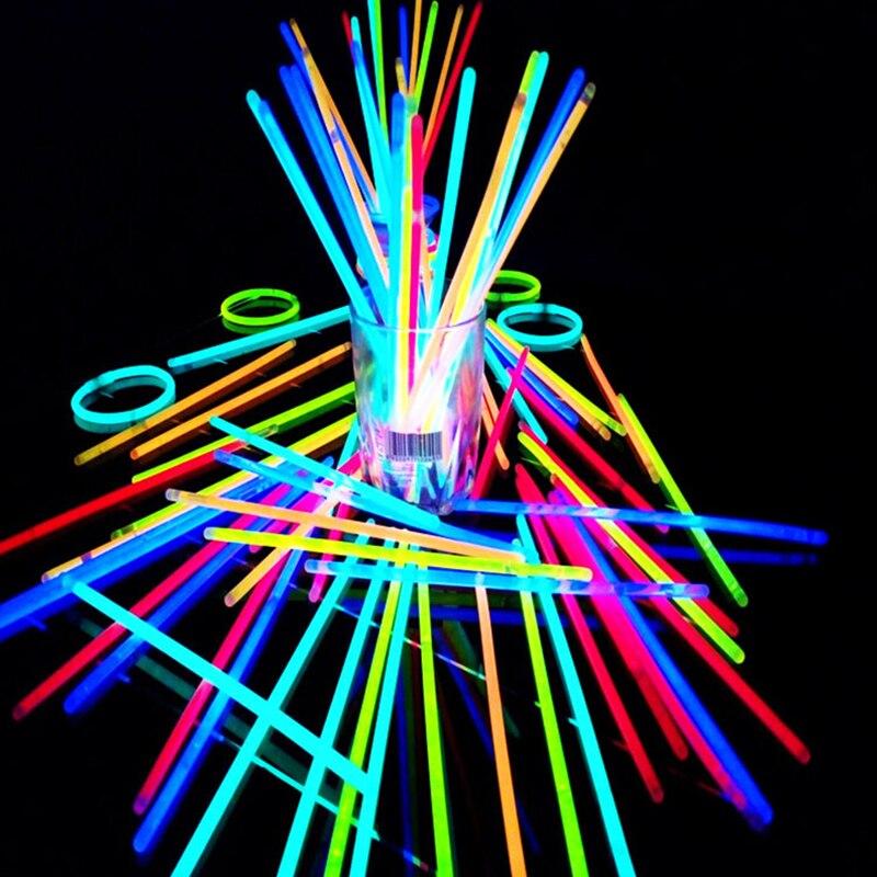 100 pçs festa fluorescência luz brilho varas pulseiras colares de néon para festa de casamento brilho varas brilhante colorido fulgor vara
