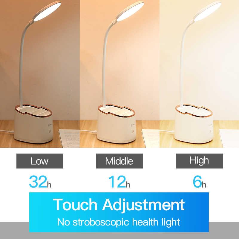 Lámpara inalámbrica para mesa de estudio de cuello de cisne 3 modos táctil 1800mAh recargable LED de lectura de escritorio lámpara de mesa USB Flexo lámparas de mesa