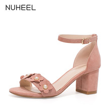 NUHEEL women's shoes new summer wild sweet style flowers thick heel sandals word buckle high heel shoes women женская обувь