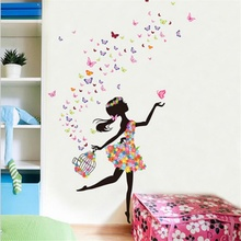 Flower Elf Fairy Tale Girl Wall Sticker Living Room Decor Romantic warm glass decoration