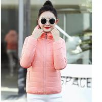 2019 New Female Fashion Multicolor Cotton padded Clothes Autumn Womens Ultra Light Lamb Hair Hooded Cap Slim Short Coats
