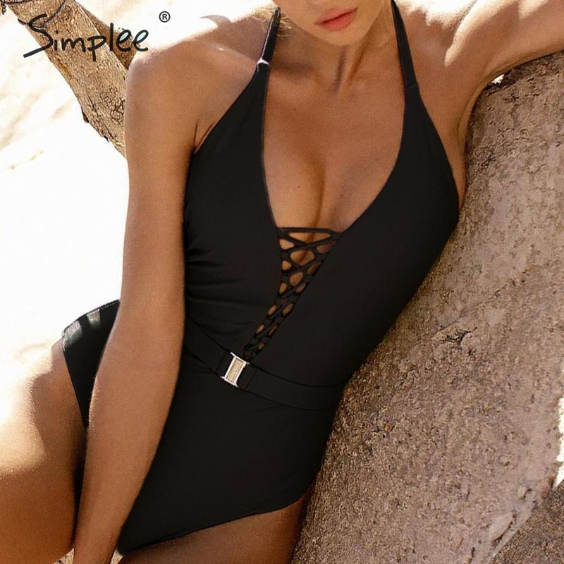 Simplee Vintage lace up swimsuit women Halter one-piece swimwear female High cut bodysuits monokini Summer bathers bathing suit