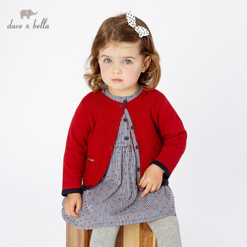 DB11769-1 dave bella autumn infant baby girls fashion red solid cardigan kids toddler coat children cute knitted sweater image