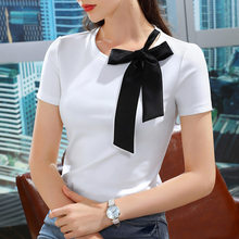 Short sleeve T-shirt women's 2021 summer new women's wear color contrast bow Korean cotton T-shirt French gentle style top