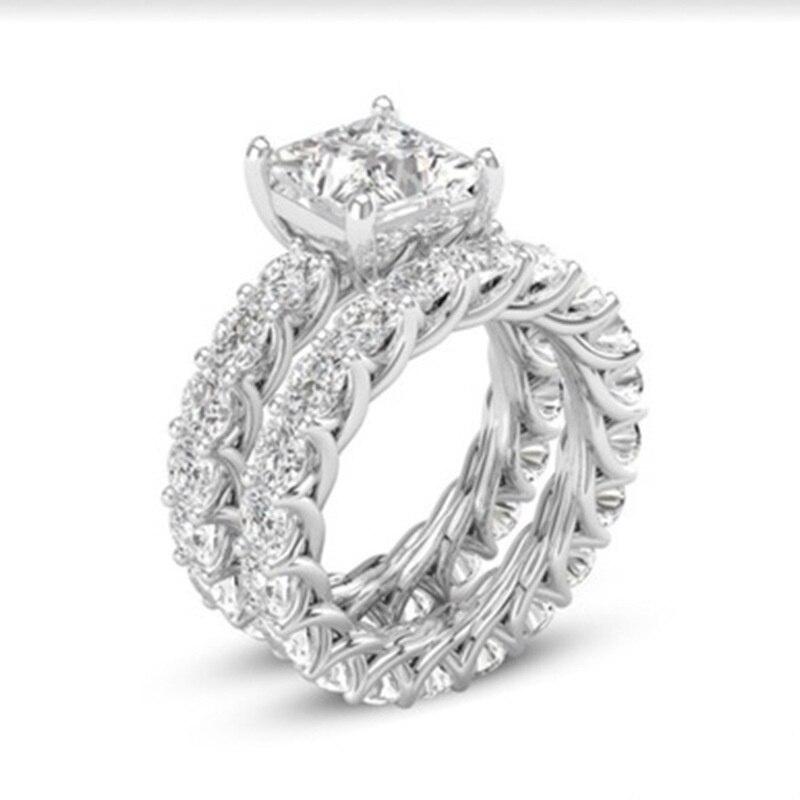 Стильный 2 шт./компл. серебро Цвет в виде геометрических фигур, циркон, кристалл, кольцо для женщин обручальные кольца вечерние свадебные кольца ювелирные изделия ручной работы аксессуары