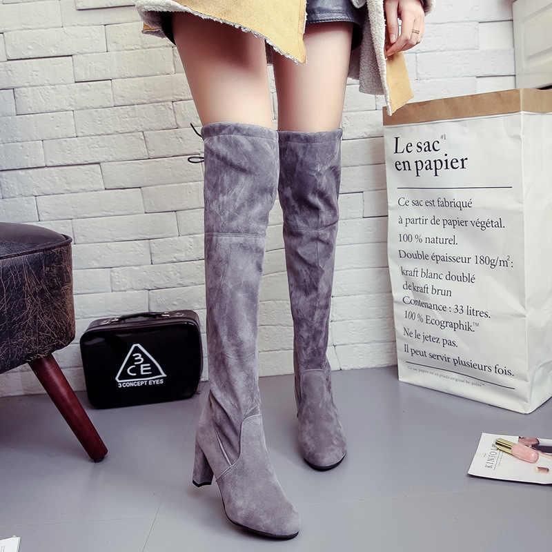 2019 sonbahar/kış büyük kod 34-43 uzun çizmeler kalın topuklu diz-On Boots süet yüksek çizmeler yüksek topuklu bayan botları