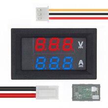 """50 sztuk DC 0 100V 10A woltomierz cyfrowy amperomierz podwójny wyświetlacz czujnik napięcia miernik prądu Panel Amp woltomierz 0.28 """"czerwony niebieski"""