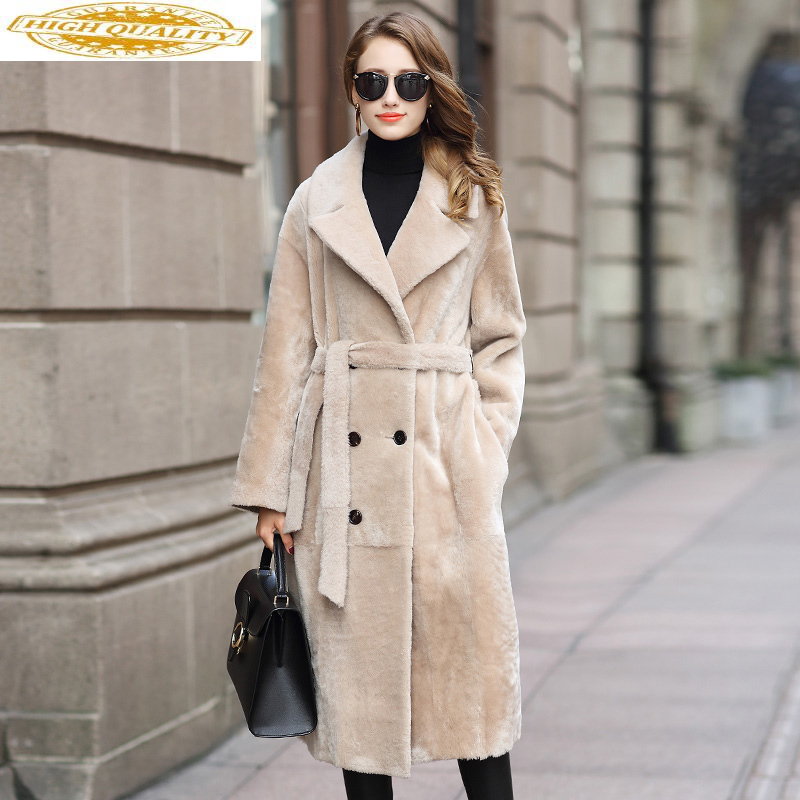 Luxury Real Wool Fur Coat Female Natural Full Pelt 2020 Winter Jacket Women Sheep Shearling Fur Jacket Long Coats MY3660