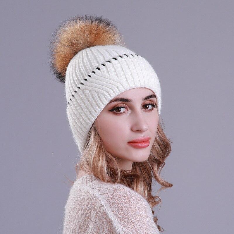 Winter Hat Women Teenagers Warm Wool Knit Beanie Autumn Raccoon Fur Pompon Brim Headwear Outdoor Skiing Snow Accessory in Women 39 s Skullies amp Beanies from Apparel Accessories