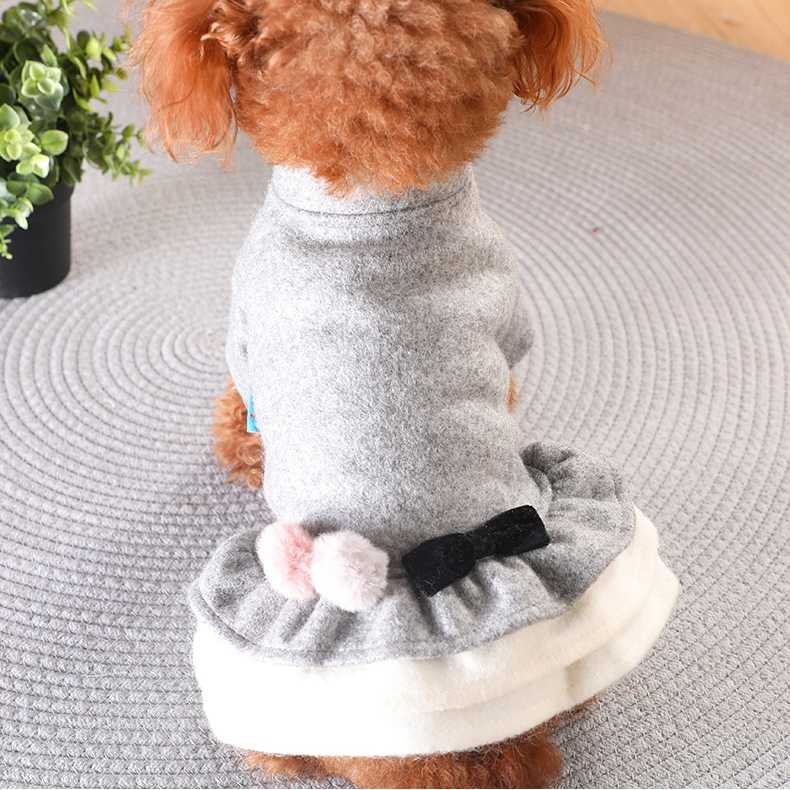 Bows Girl Luxury Cat Puppy Dress Winter Warm Pet Dog Dresses Small Animal Puppyy Chihuahua Yorkies Skirt Clothes Vestido Perro