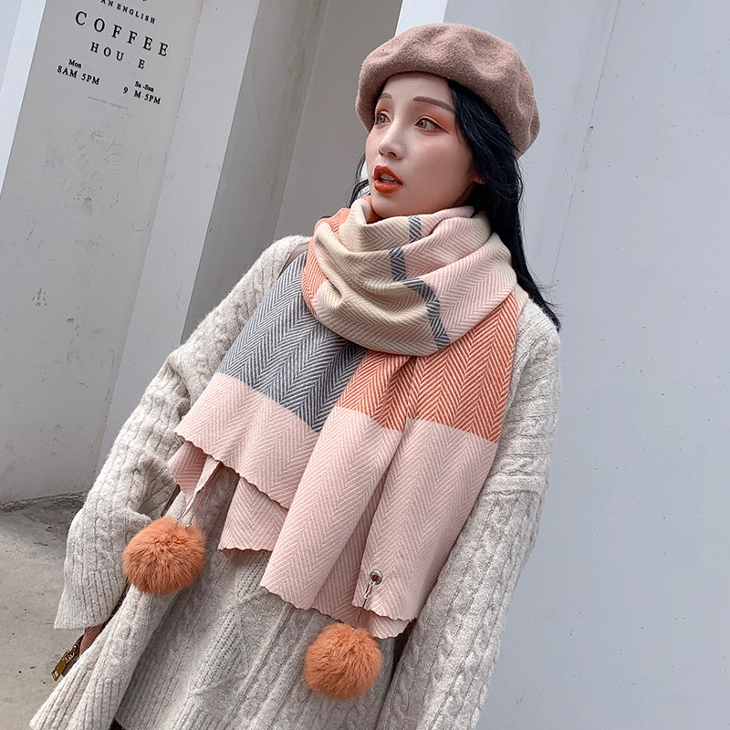 Scarf Female Winter Korean Version Versatile Chic Soft Girl Lovely Little Fresh Hanging Ball Knitting Imitation Cashmere Student