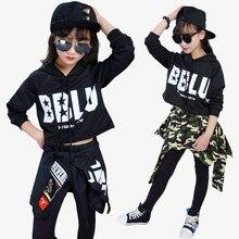 Kinder Mode Street Dance Hip Hop Dance Kleidung Mädchen Ballsaal Jazz Dance Kostüm Kinder Crop Tops + Hosen Röcke 2 stück Sets