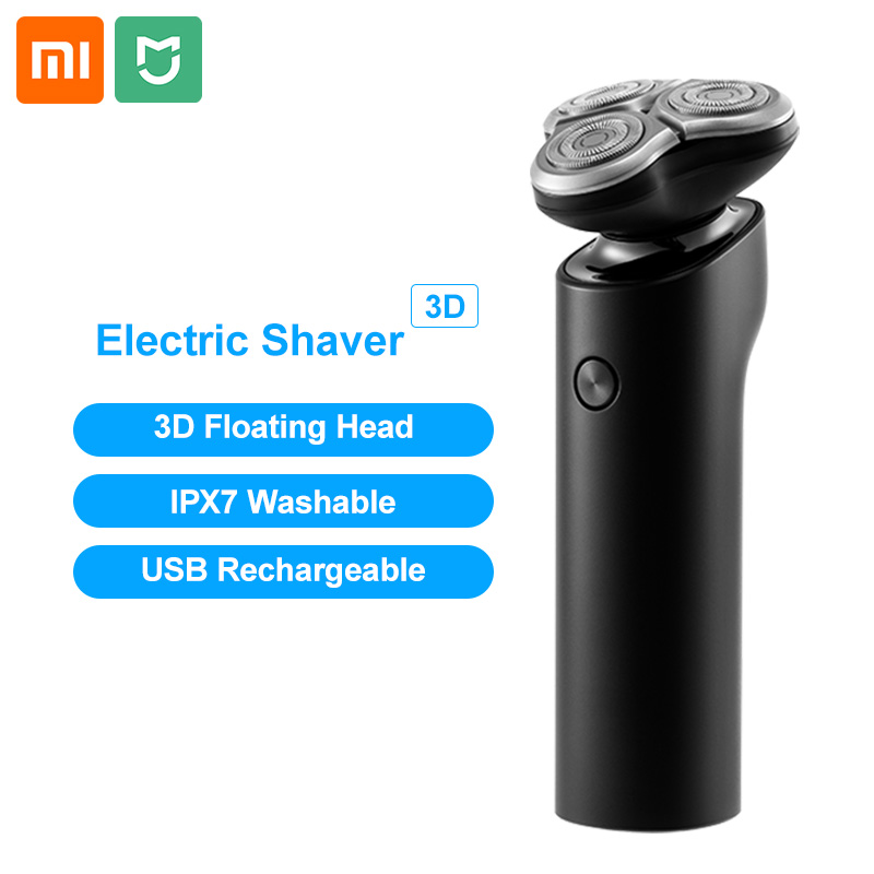Xiaomi Mijia Electric Shaver Men Razor Beard Trimmer 3 Head Flex Dry Wet Washable Main Sub Dual Blade Turbo+ Mode Comfy Clean