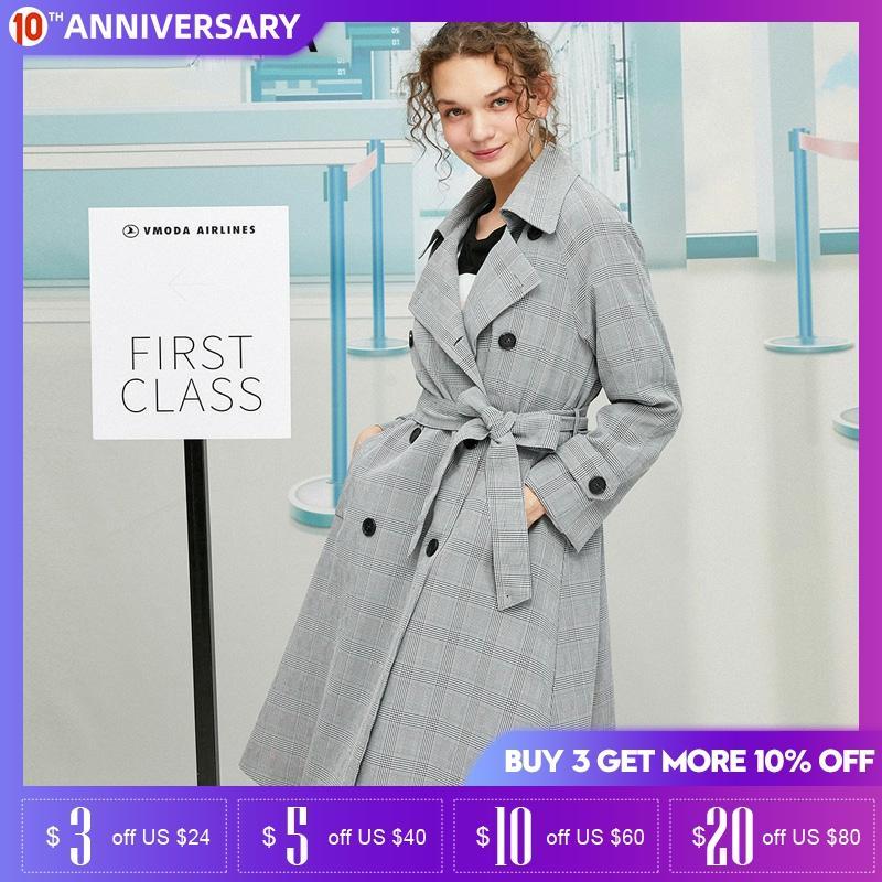 Vero Moda Women England Style Slim Fit Plaid Trench Coat   319321552