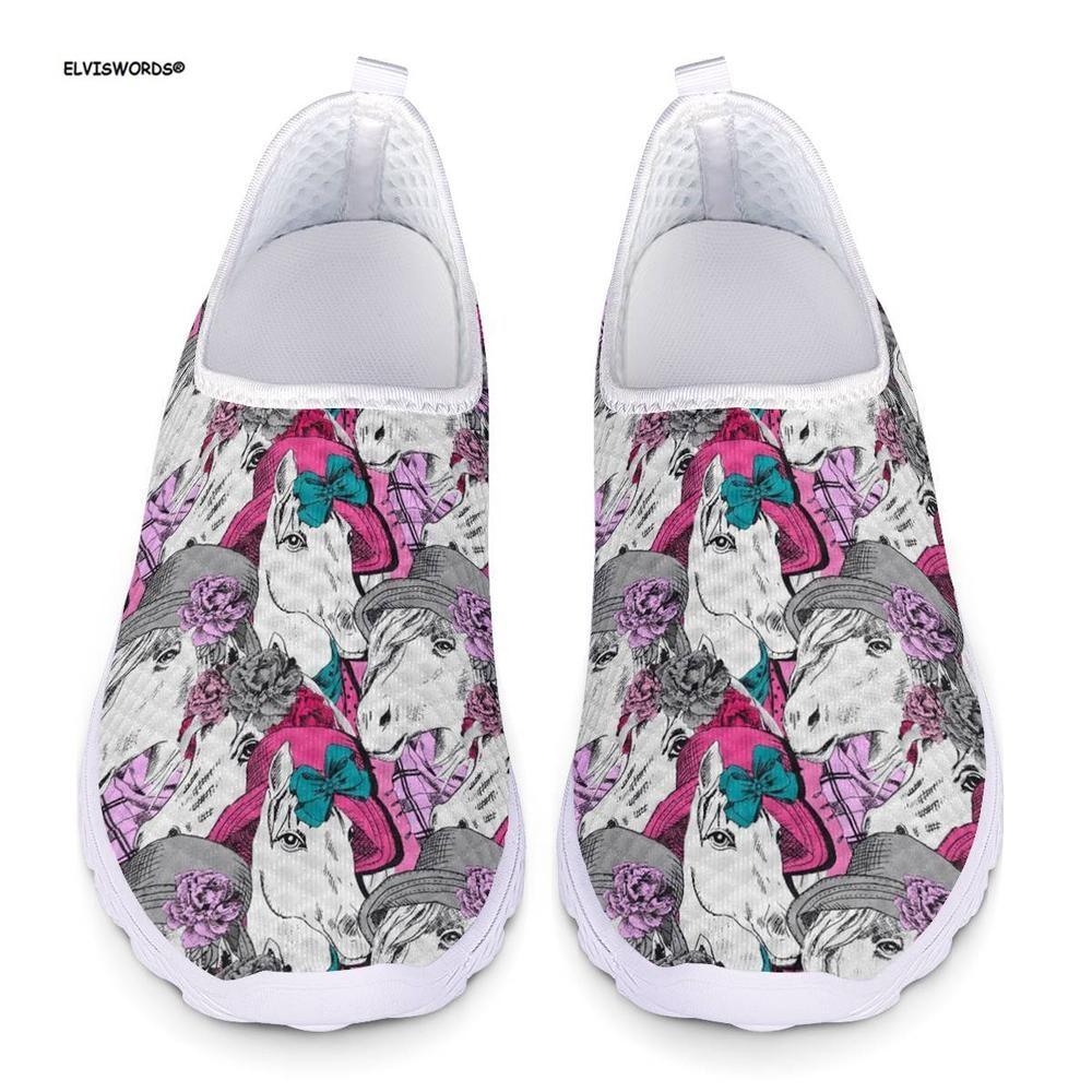 ELVISWORDS Cute Women Sneakers Flats Shoes Horse Pattern Spring Summer Ladies Breathable Comfortable Mesh Shos for Teen Girls