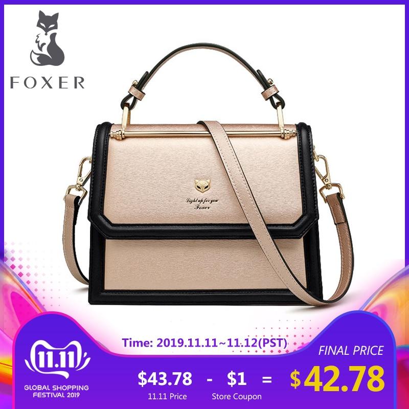 FOXER Brand Women's Crossbody Bags Accordion Design Shoulder Bags Split Leather Messenger Bags Female New Fashion Lady Purse