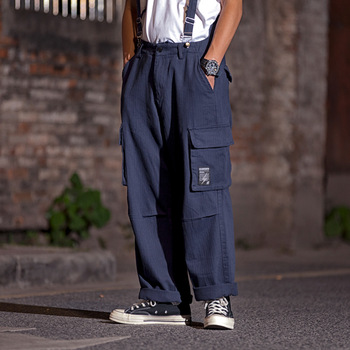 Male Japan Streetstyle Loose Vintage Fashion Hip Hop Jumpsuit Overall Trousers Straight Pant Men Loose Casual Bib Cargo Pants