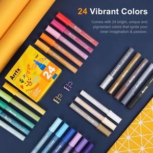 Image 2 - Arrtx caneta marcadora de tinta, 24 cores conjunto de acrílico permanente, diy, caneta de marcador de tinta, selvagem, vidro, cerâmica pintura de madeira