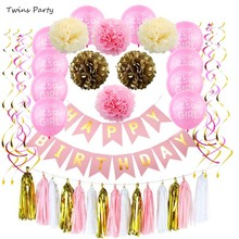 Twins Party Birthday Decorations Pink and Paper Flowers for Women Hanging Swirls Garland 1st Sign