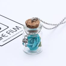 Romantic Luminous Glow In Dark Rose Flower Pendant Necklace Fluorescent Glass Wish Bottle Chain Choker Necklace Gift Jewelry(China)