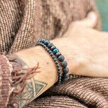 Bangles Nomination Korean Retro Bracelet Natural Lava Stone Beads Braclets for Women Men Jindian Jewelry Gold Customized Viking