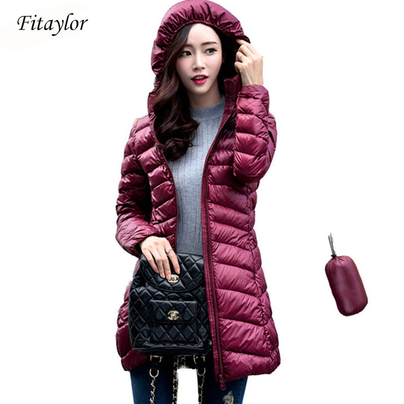 Fitaylor Women Ultra Light White Duck Down Jackets Autumn Winter Hooded Plus Size Lady Slim Warm Long Down Coats